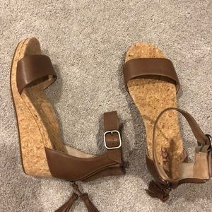 ugg leather cork wedge ankle strap sandals